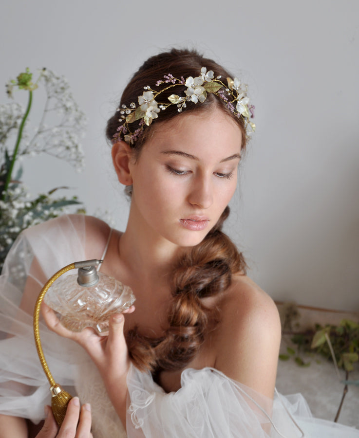 bridal flower leaf headpiece