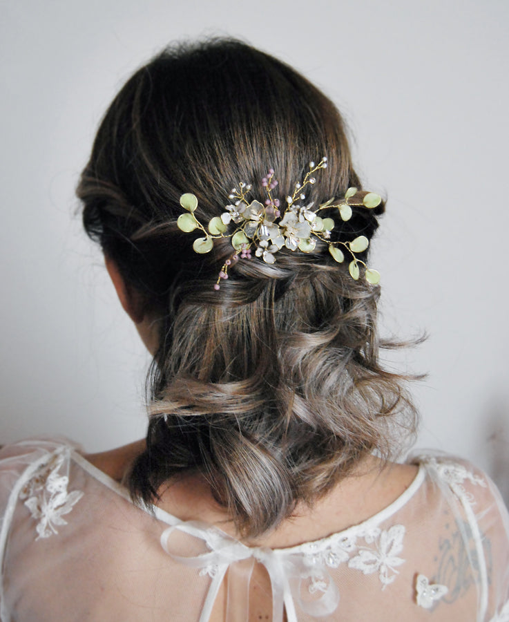 bridal green leaf hair piece