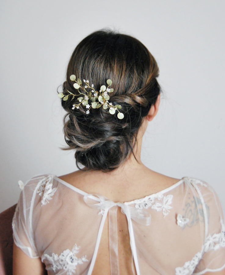 bridal green leaf headpiece