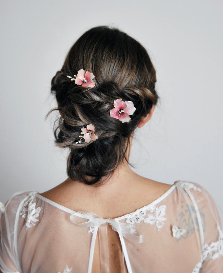 bridal hot pink hairpins
