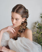 bridal pearl leaf hairpieces