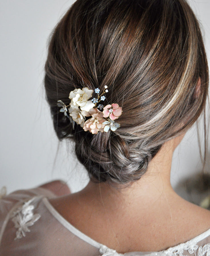 Bridal pink and blue flower hairpin