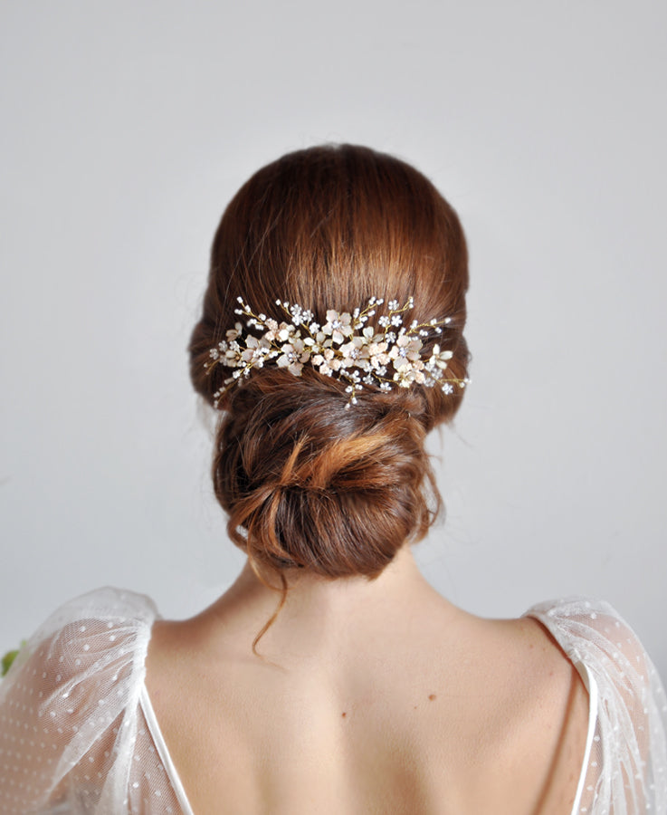 bridal pink flower hair comb