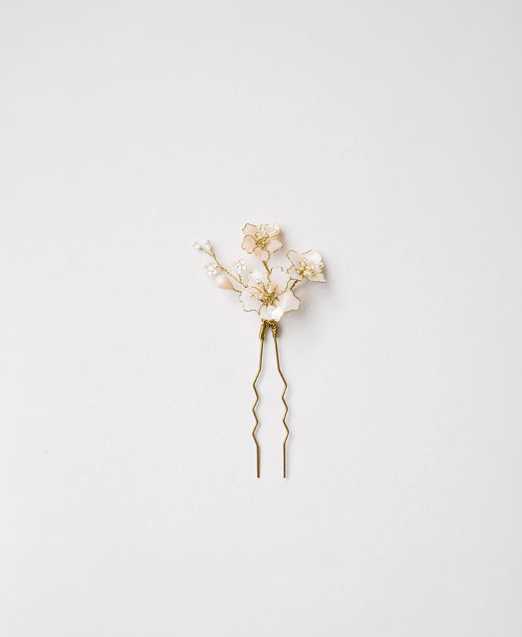 bridal pink flower hair pin