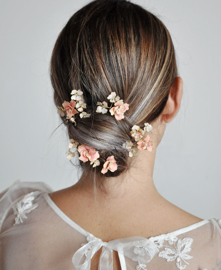bridal pink hair flowers