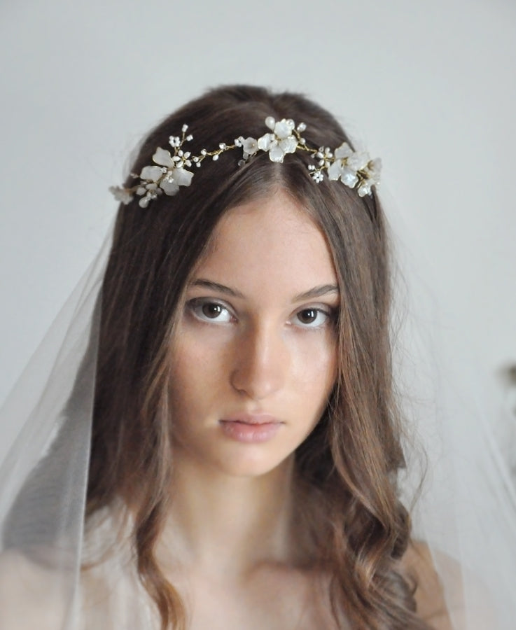 bridal white floral headband