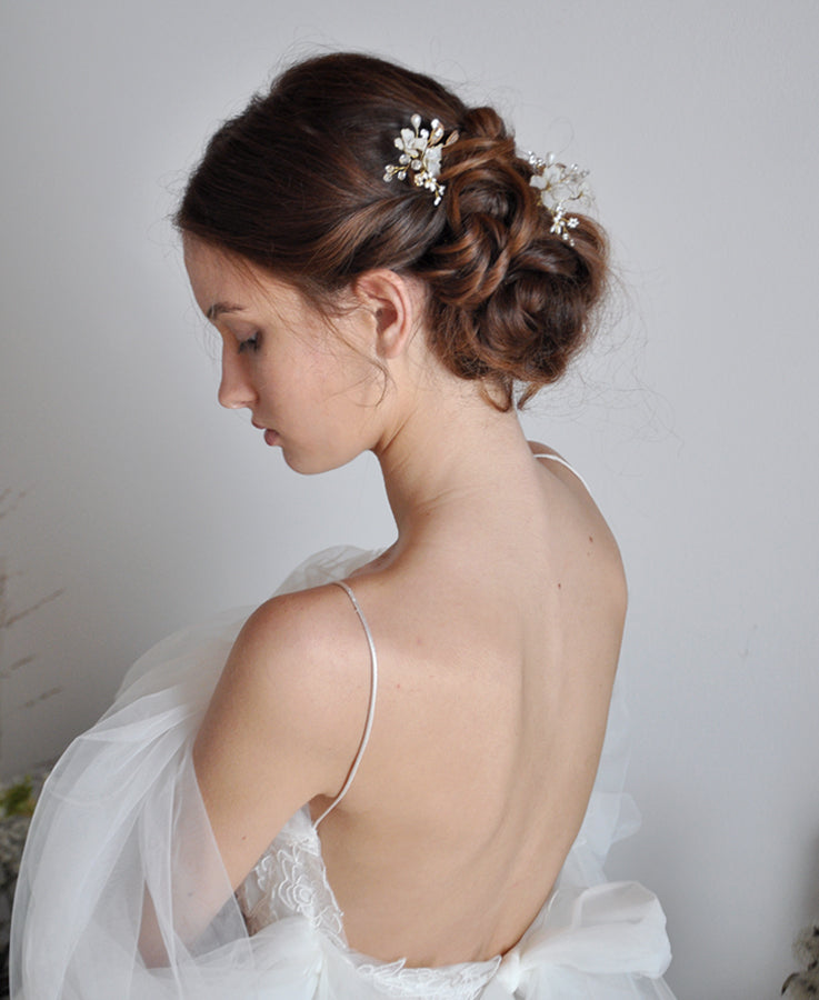 bridal white flower headpieces