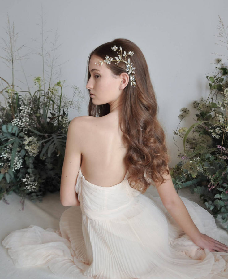 bridal white vine hairpiece