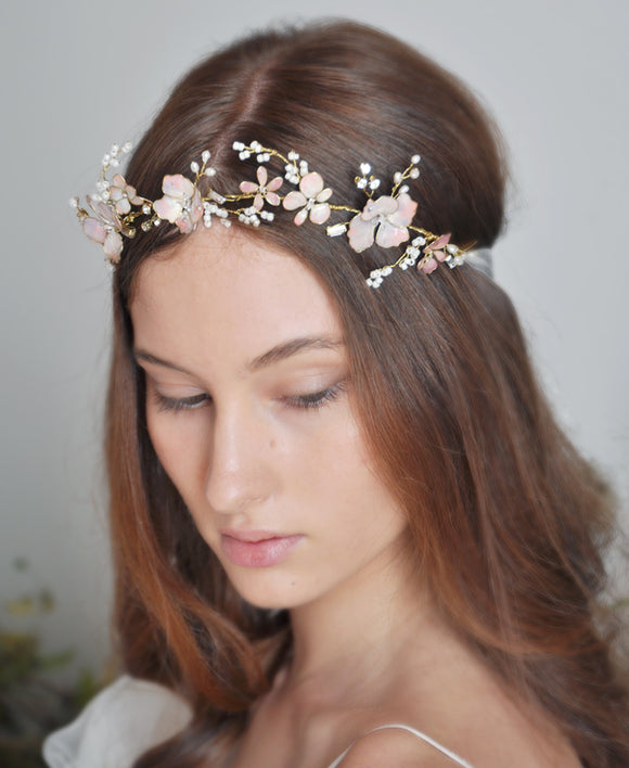 Wedding lilac flower hair crown