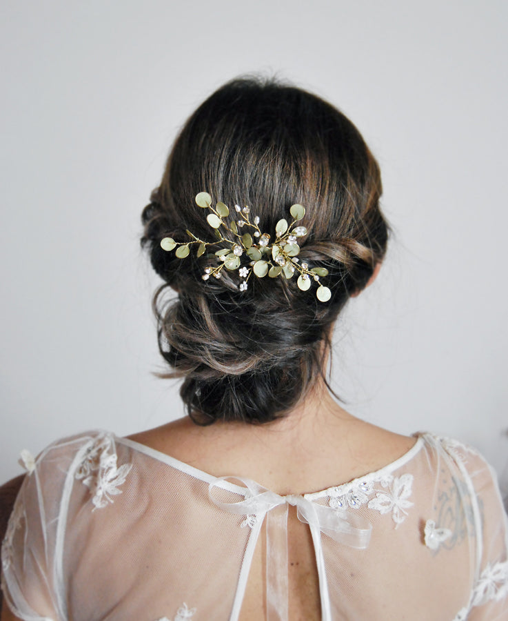 bride greenery hair piece