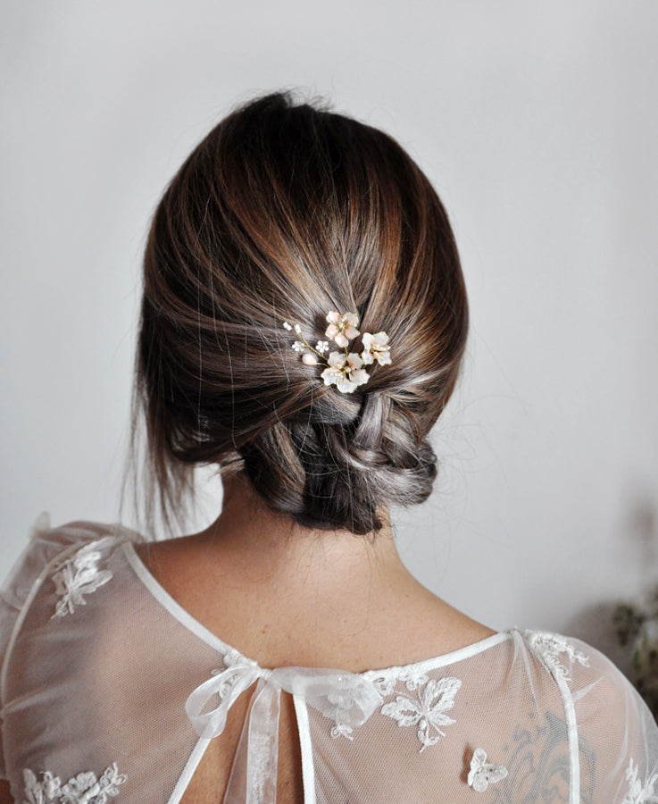 bride pink hair accessory
