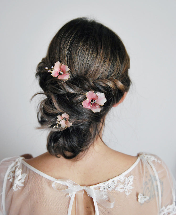 bride pink pansy hairpins