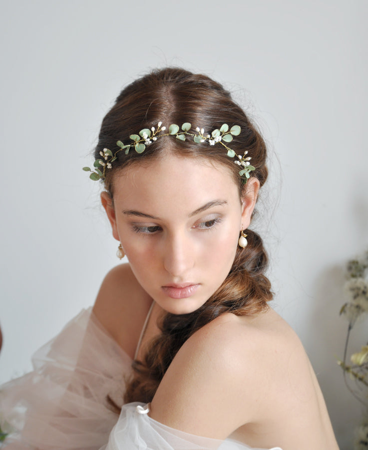 bride sage green hair crown