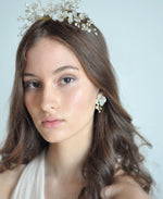 bride white pearl headpiece