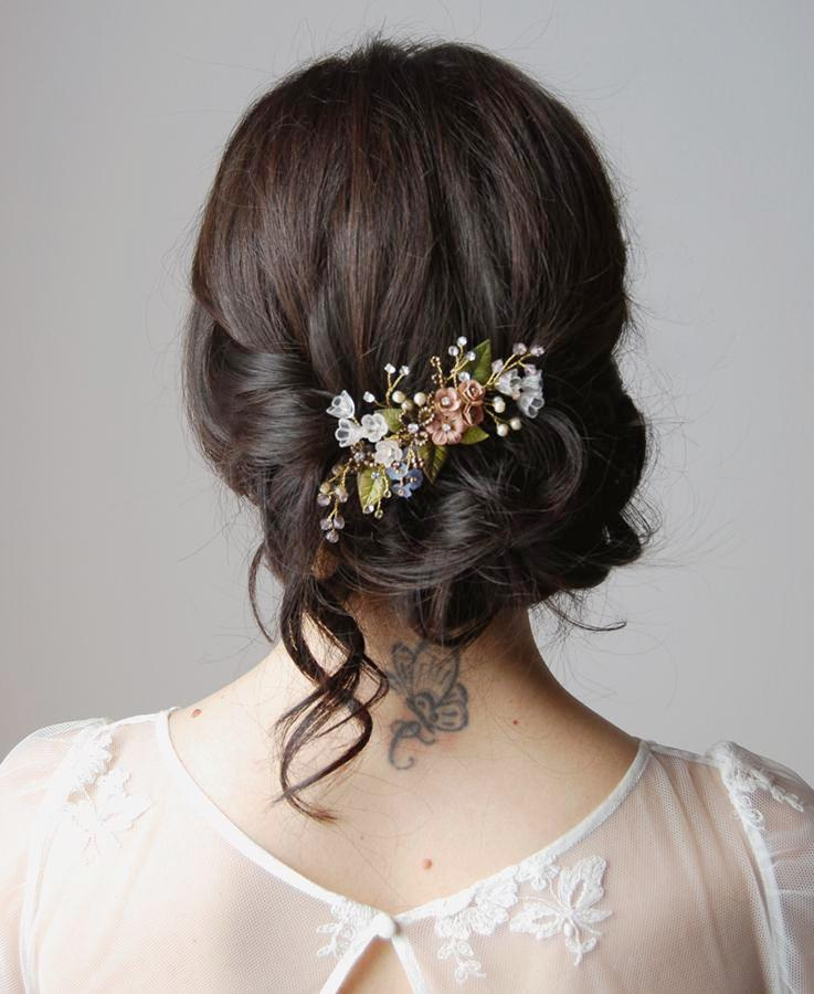 Colorful bouquet hair comb