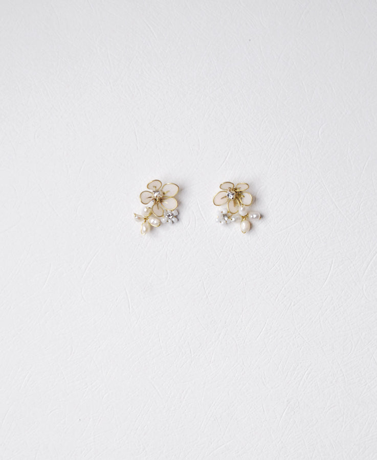 flower pearl earrings for bride