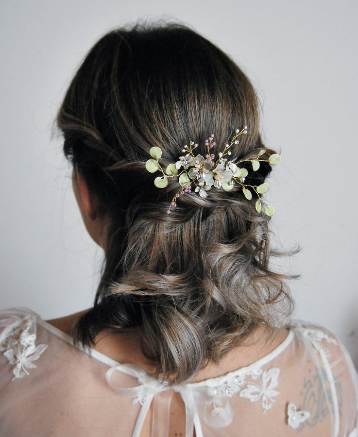 greenery bridal hair accessory