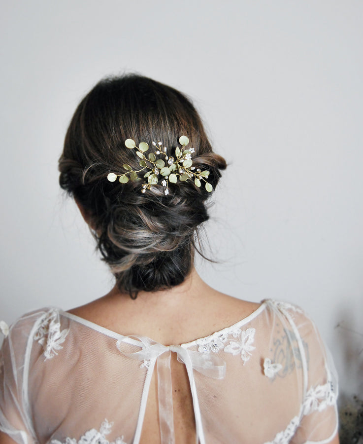 greenery wedding hair comb
