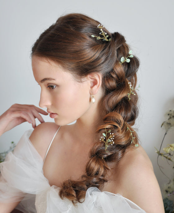 greenery wedding hairpins