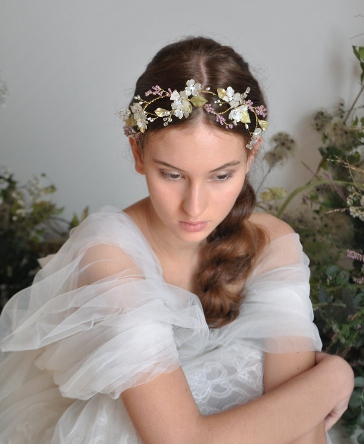 greenery wedding headpiece