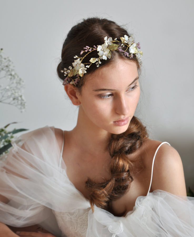 lavender floral headpiece