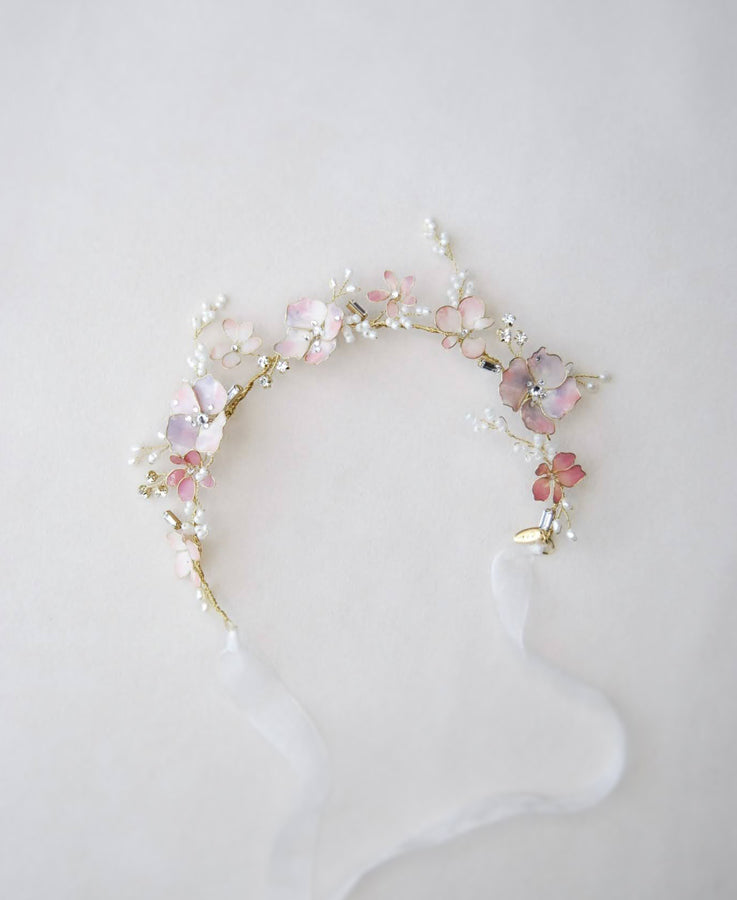Lilac flower hair crown for bride