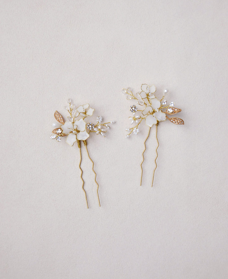 opal white flower hairpins