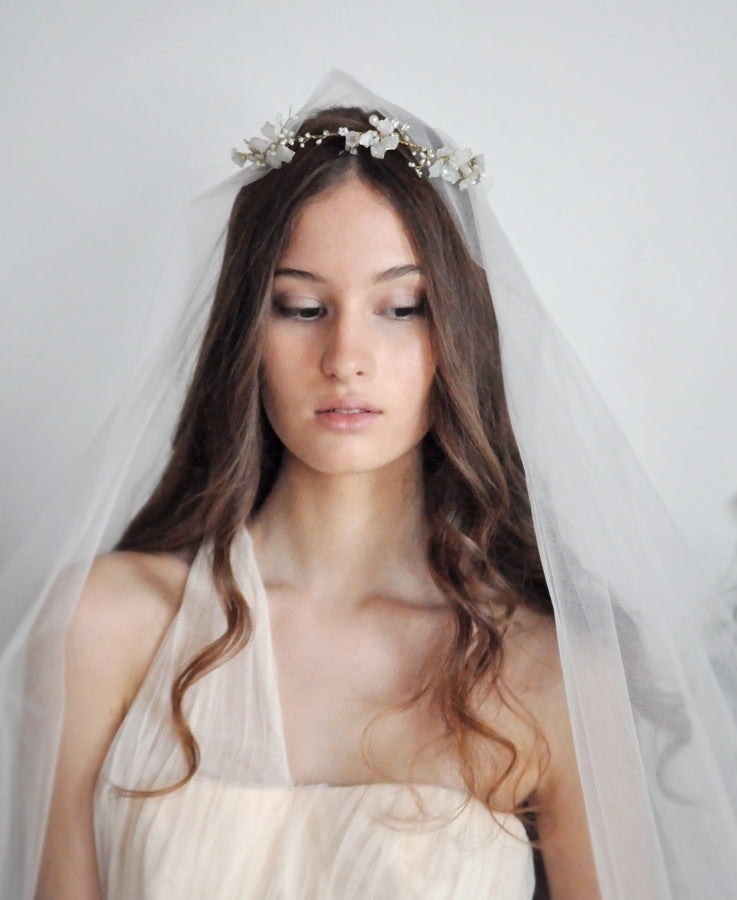opal white headband with veil