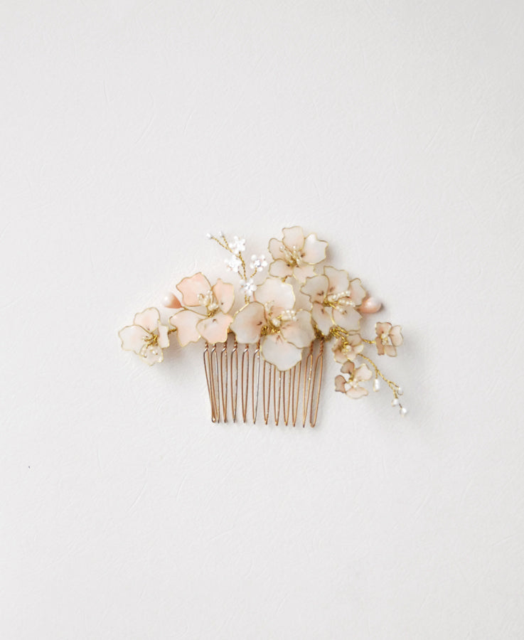 pink flower hair comb wedding