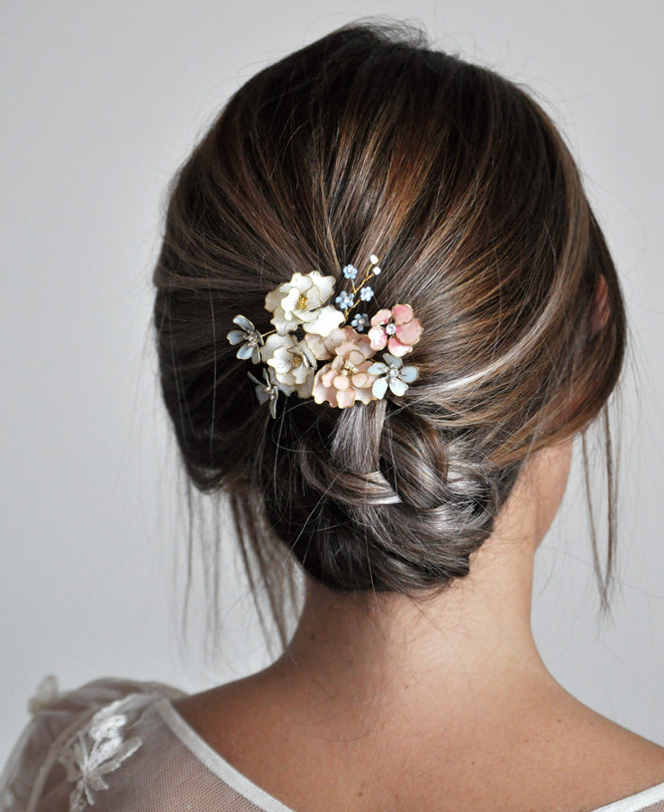 something blue floral hairpin