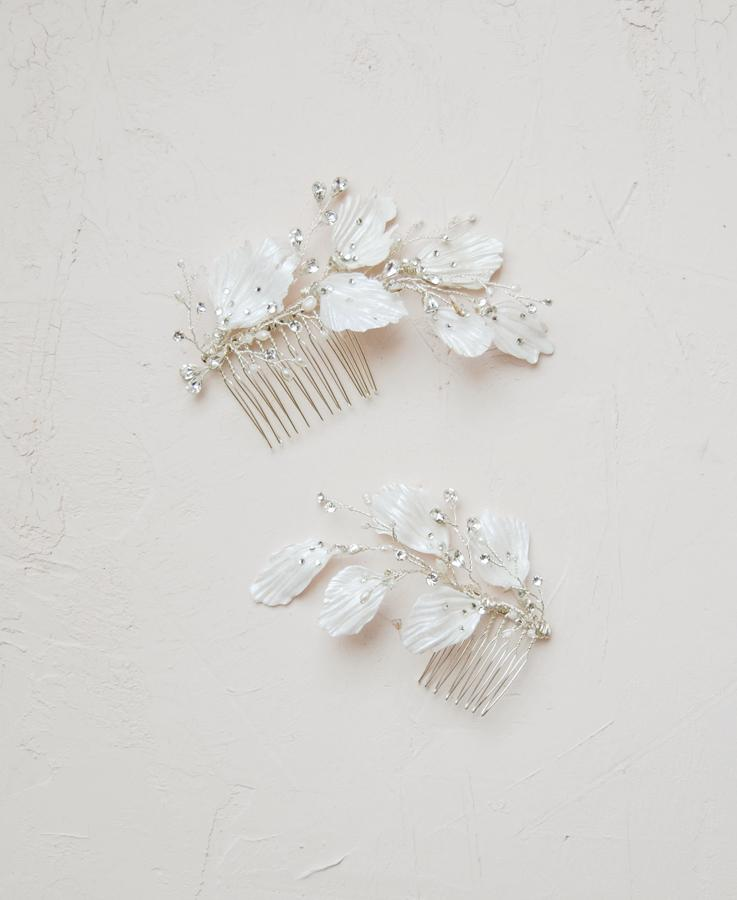 Crystal and pearl clay leaves headpieces  | Elibre handmade