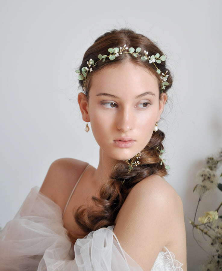wedding eucalyptus hair crown