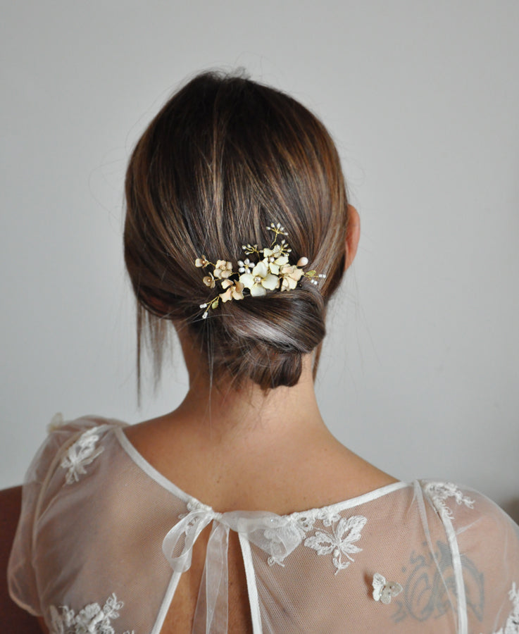 wedding flower hair comb