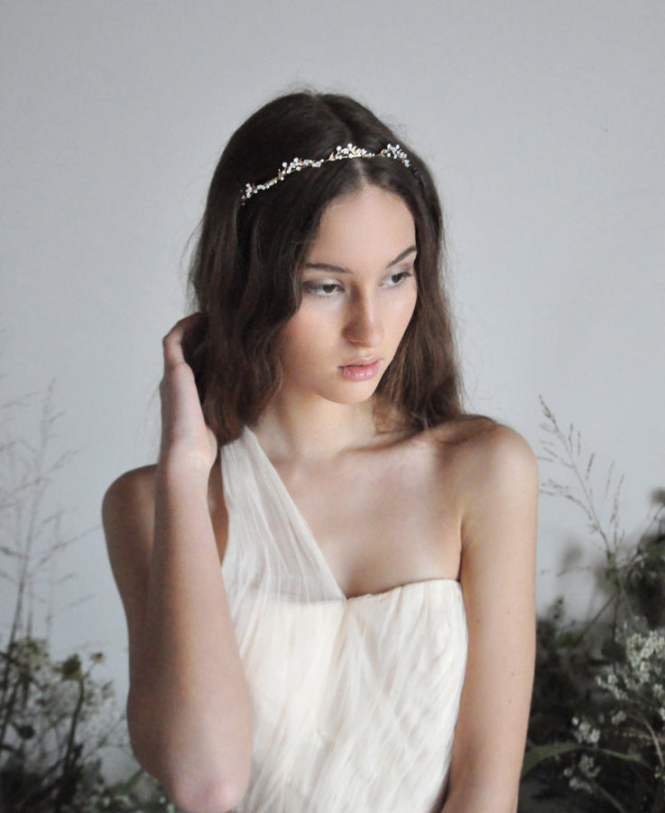 wedding head band with opal