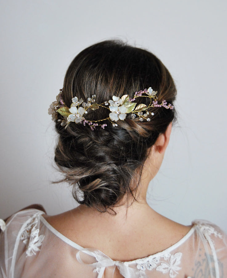 wedding lilac floral hairpiece