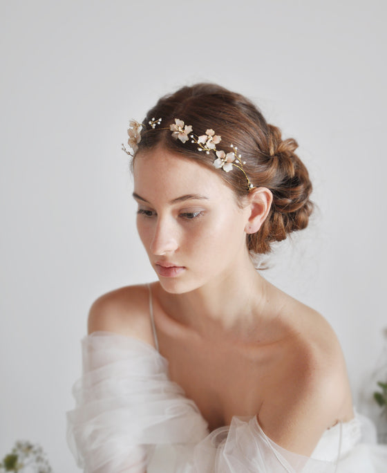 wedding pink flower headband