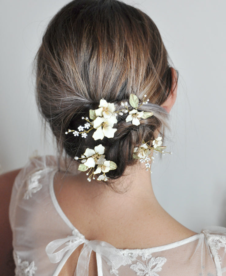 wedding white floral hairpieces