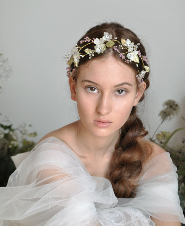 wedding white flower head wreath