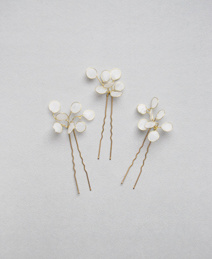 white eucalyptus hair pins