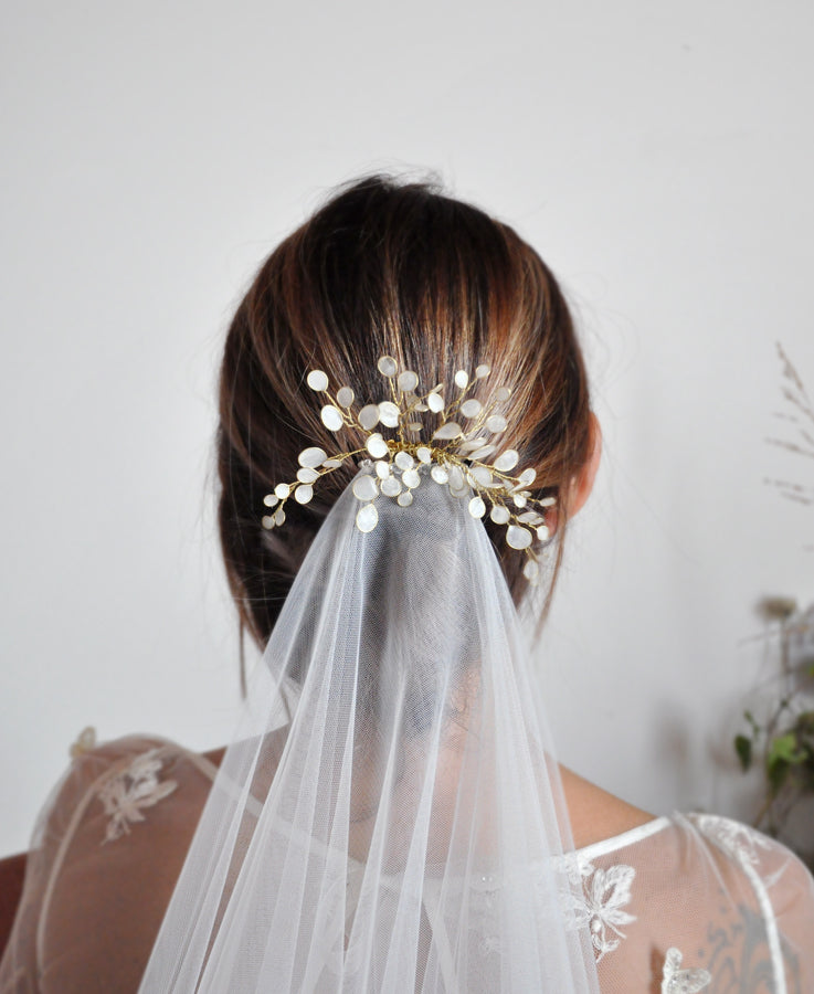 White modern bride headpiece