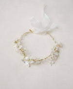 white opal flower pearl crown