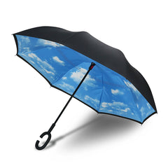 Premium Inverted Upward Folding Umbrella Double Layer C Handle Windproof