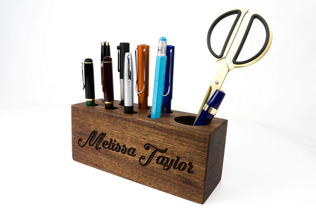 Personalized Mahogany Wood Desk Organizer - Pen Holder - waldengoods  - 1
