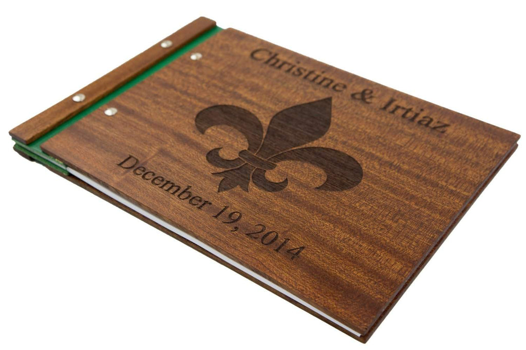 Custom Wood Wedding Photo Album Fleur De Lis - Guestbook - waldengoods  - 1