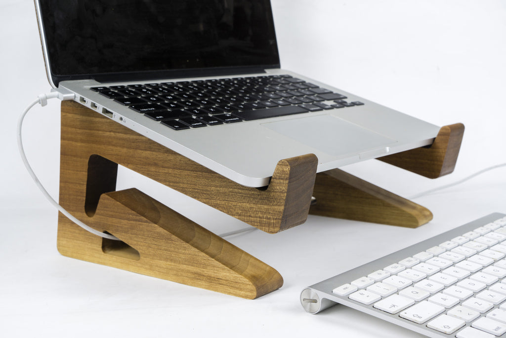 Walnut Wood Laptop Stand-Macbook Stand-Notebook Riser - waldengoods  - 1