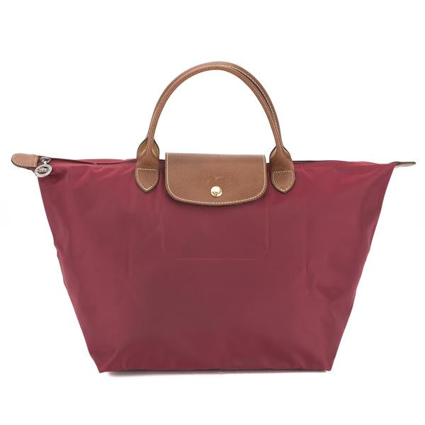 Longchamp - Le Pliage Top Handle M Bag in Garnet Red