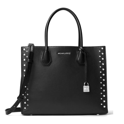 Michael Kors - Mercer Stud & Grommet Large Convertible Leather Tote in Black