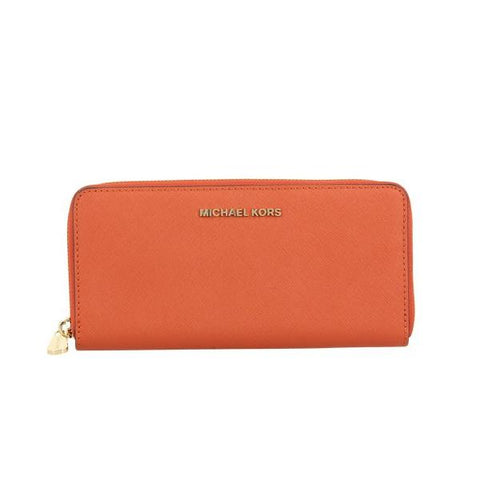 Michael Kors - Jet Set Travel Continental Wallet Saffiano Leather Purse in Orange