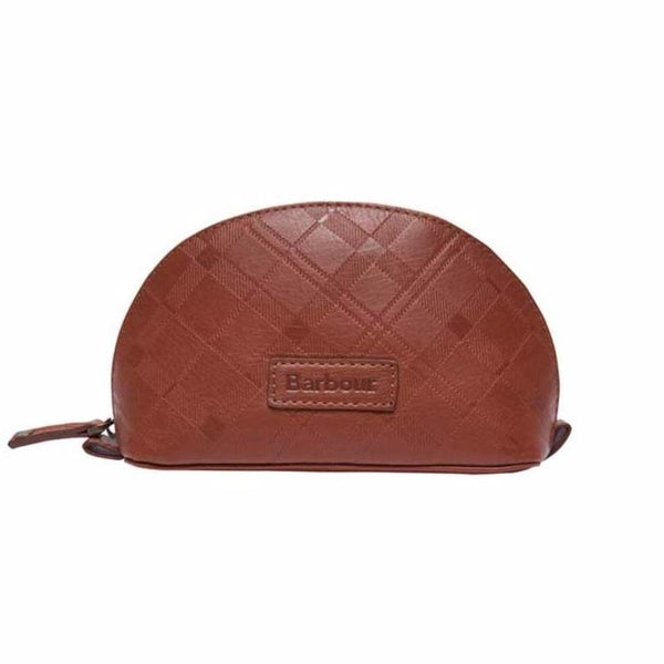 Barbour - Embossed Tartan Leather Make Up Bag in Dark Tan