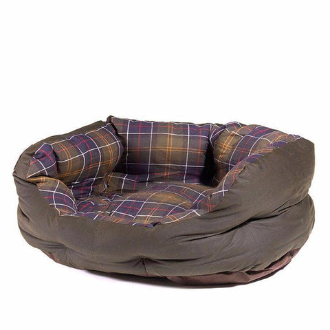 Barbour - 24in Wax/Cotton Dog Bed in Classic Tartan/Olive